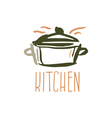 Hand drawn logo with kitchen pan vector image