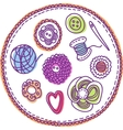 Hand-drawn needlework elements vector image vector image