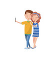 happy couple in love making selfie photo cartoon vector image vector image