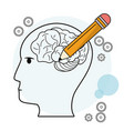 head profile human brain pencil outline vector image vector image