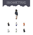 isometric human set of doctor detective girl and vector image vector image