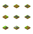 isometric road set of unilateral rotation vector image vector image