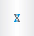 letter x triangle blue gray logo vector image