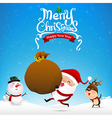 Merry christmas text and santa claus cartoon vector image vector image
