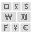 monochrome icons with currency symbols vector image