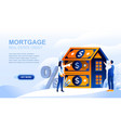 mortgage flat landing page with header vector image