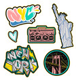 new york city set sticker and patches print vector image