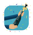opening a a bottle of champagne vector image