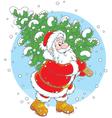 Santa with a Christmas tree vector image vector image