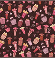 seamless pattern with cupcakes and gift vector image