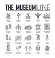 set museum building and objects thin line icons vector image
