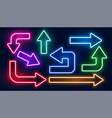 set neon glowing colorful arrows design vector image