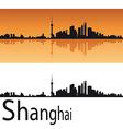 Shanghai skyline in orange background vector image vector image