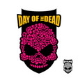 skull of flowers for day of the dead skeleton vector image vector image
