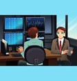 stock trader looking at stock market monitors vector image