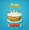 Sweet cake with candles Greeting card vector image