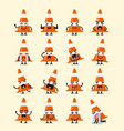 traffic cone character emoji set vector image