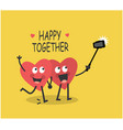 two cute lovers hearts take selfie on phone vector image