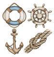 watercolor beige nautical icons buoy anchor helml vector image
