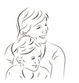 Woman and her son vector image