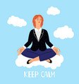 woman meditations on clouds vector image