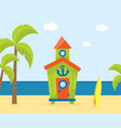 wooden bungalow on tropical coast sea beach vector image vector image