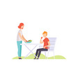 young couple having outdoor bbq vector image vector image