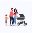 young parents pushing stroller walking vector image