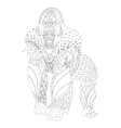 Zentangle patterned gorilla standing vector image vector image