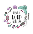 accessories for the hairdresser s motivational vector image vector image