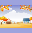 autumn house and garden with bright foliage trees vector image