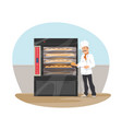 bakery and baker at shop flat design vector image vector image