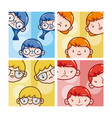 boy and girls faces vector image vector image