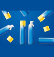 bright blue foam bottles with yellow caps vector image