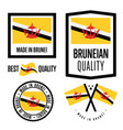 brunei quality label set for goods vector image vector image
