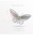 butterfly digitally drawn low poly triangle wire vector image