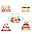 cake set collection sweet pastries for vector image