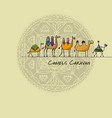 camels caravan sketch for your design vector image vector image