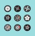 car rims with geometric tracery set metallic vector image