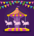 carousel with unicorns and garlands hanging vector image vector image