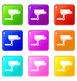 cctv camera icons 9 set vector image vector image