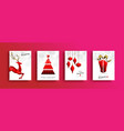 christmas and new year red low poly card set vector image