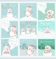 collection of 9 cute cards with snowmen vector image