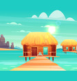 comfortable bungalows on tropical beach vector image vector image