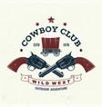 cowboy club badge t-shirt wild west vector image vector image