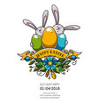 design of happy easter poster invitation to party vector image