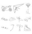 extreme sport outline icons in set collection for vector image