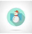 Flat color snowman round icon vector image