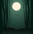 foggy forest in the light of the full moon and vector image vector image