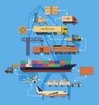 freight transport and logistics infographics vector image
